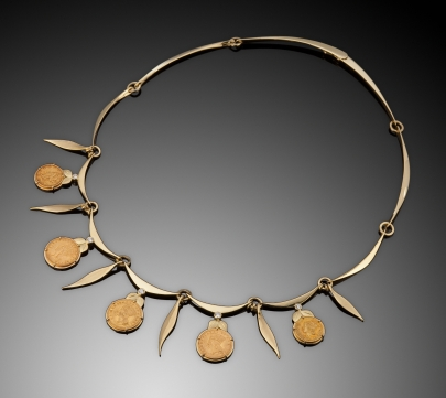 18K Necklace with Antique Coins